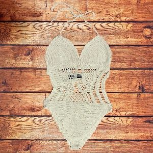Naked Wardrobe Crochet One Piece Bikini Bodysuit
